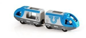 Brio Blauwe zelfrijdende trein met machinist
