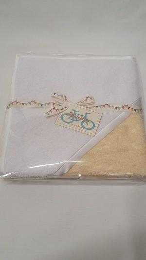 Biciclette Baby Badcape handgemaakt geel/wit